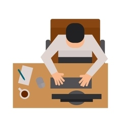 Workplace office with man top view flat vector image