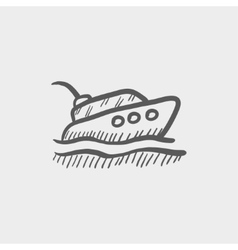 Yacht sketch icon vector image