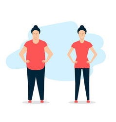 Young woman before and after fitness a fat girl vector