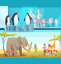 zoo animals 2 cartoon banners vector image