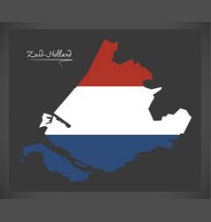 zuid-holland netherlands map with dutch national vector image