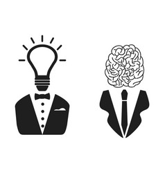 2 intelligent people head icon vector image vector image