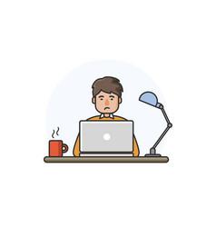 happy man working on computer vector image