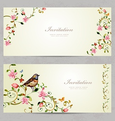 invitation cards with foliate ornament and flowers vector image