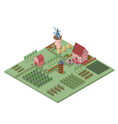 isometric agricultural landscape template vector image vector image