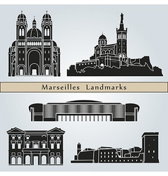 Marseilles landmarks and monuments vector image