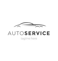 modern auto service emblem with car silhouette vector image