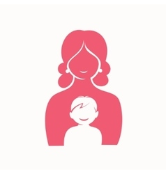 mother and son stylized silhouette vector image vector image