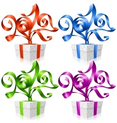 set of ribbons and gift boxes Symbol of New Year vector image
