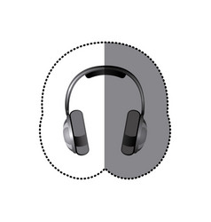 sticker realistic silver music headphones vector image