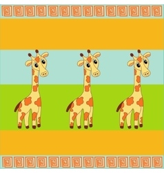 three giraffe background vector image