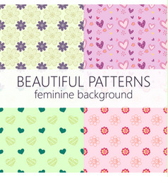 beautiful girly seamless abstract pattern set vector image vector image