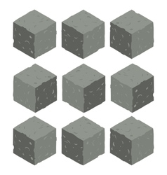 Cartoon Isometric rock stone game brick cubes set vector image