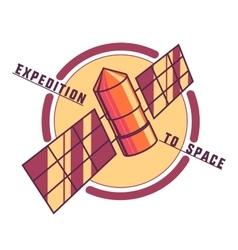 Color vintage space emblem vector image vector image