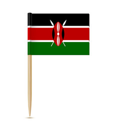 flag of kenya flag toothpick on white background vector image vector image