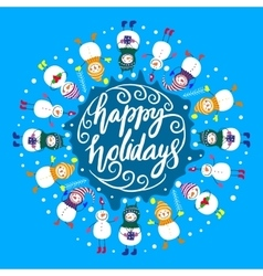 Happy snowmenframe for text vector image