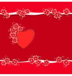 Heart paper flower copy vector image