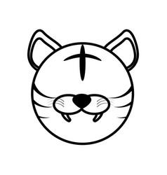 outline tiger head animal vector image vector image
