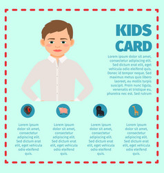 sad boy kids card infographic vector image vector image