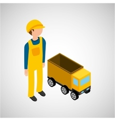 under construction worker with dump truck vector image vector image