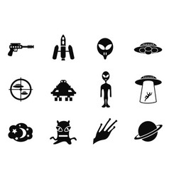 alien and ufo icons set vector image vector image