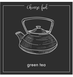 chinese green tea pot chalk sketch for china asian vector image vector image