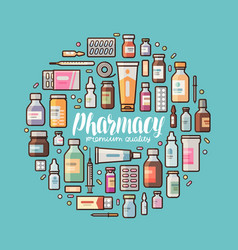 pharmacy pharmacology banner medical supplies vector image