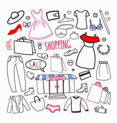 shopping hand drawn set sale woman fashion vector image