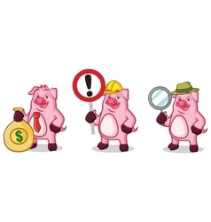 Violet Pig with money vector image vector image