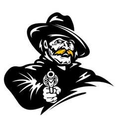 American cowboy with revolver gun vector image