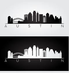 austin usa skyline and landmarks silhouette vector image vector image