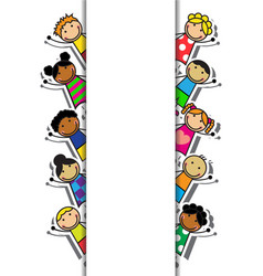 Cartoon background with children vector image vector image