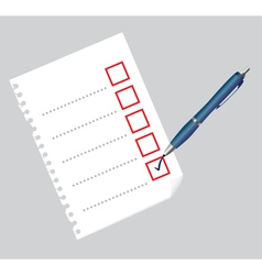 Checklist on paper sheet and pen vector image vector image