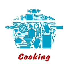 Cooking icon with kitchen utensil vector image vector image