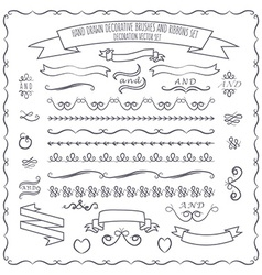 hand drawn decorative brushes elements a vector image