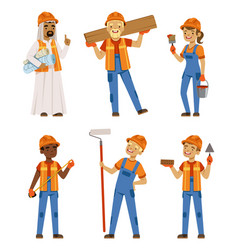male and female workers in uniform engineers and vector image vector image
