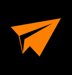paper airplane sign orange icon on black vector image