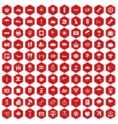 100 umbrella icons hexagon red vector