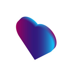 3d isometric love symbol pink and blue gradient vector image