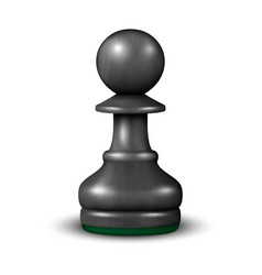 3d realistic black wooden chess pawn icon vector