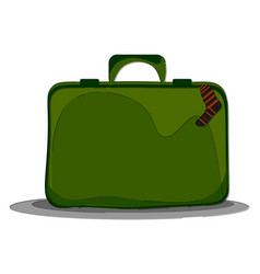 A green easy to carry suitcase or color vector