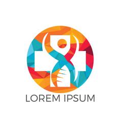 abstract cross medical and human dna logo vector image