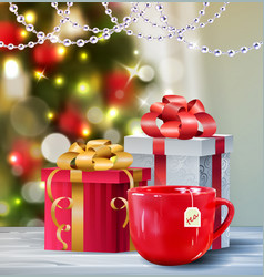 Background with christmas tea vector