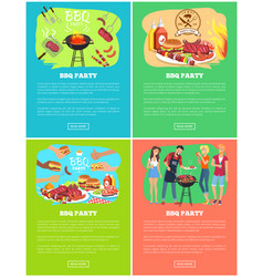 Bbq party set of meat dishes vector