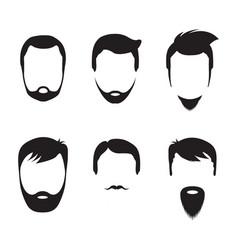 Bearded men faces icon vector