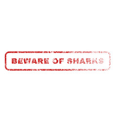 beware of sharks rubber stamp vector image