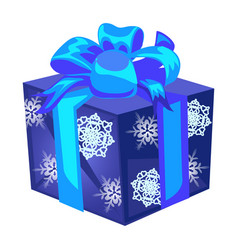 blue gift box with a bow with wrapped paper with vector image