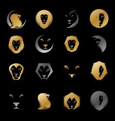 brave lions ancient emblems elements set heraldic vector image