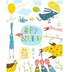 Brightly Colored Fun Cartoon Animals Happy vector image