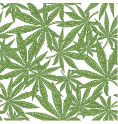 cannabis seamless pattern green leaves marijuana vector image